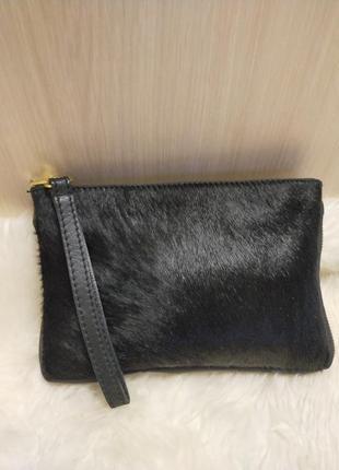 Красивая кожаная сумка  косметичка vera pelle италия