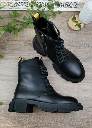 Натуральная кожа. крутые ботинки актуального фасона