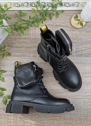 Натуральная кожа. крутые ботинки с кошельком. тренд сезона🔥