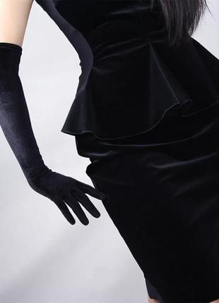 Длинные велюровые перчатки с пальчиками за локоть гетсби, мафия, чикаго, мулен руж