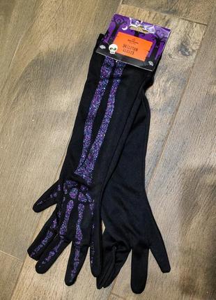 Перчатки черные с иммитацией костей. новые! one size.