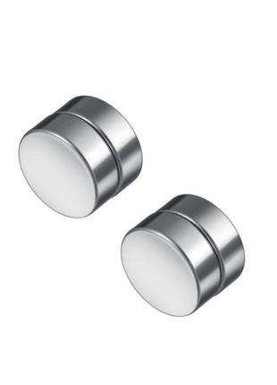 Крутые сережки обманки магниты клипсы тоннель рок готика серебристый 10мм 2шт