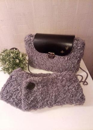 Комплект меховая сумка и шарф
