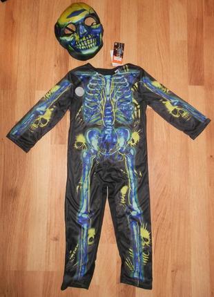 Карнавальный костюм скелет с маской на 3-4 г.