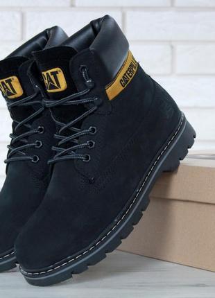 Ботинки caterpillar black / черные / сапоги / зимние / с мехом / женские