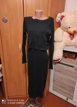 Платье в рубчик с открытыми боками