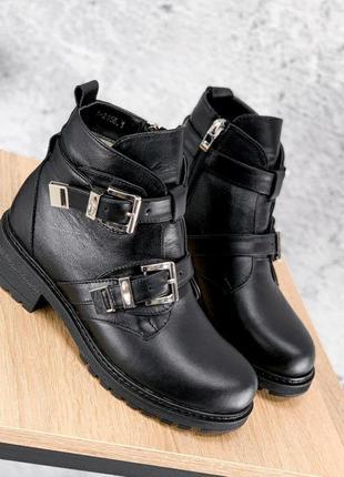 Ботинки женские dorian черные зима натуральная кожа