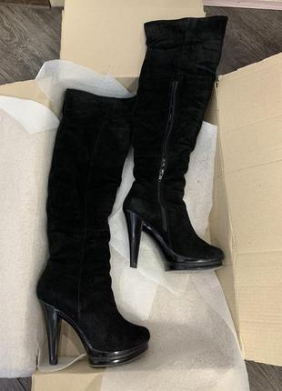 Замшевые сапоги ботфорты зимние на каблуке