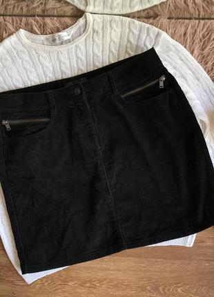 Чёрная вельветовая юбка-мини(l)