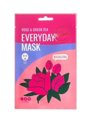 Омолаживающая маска dearboo с экстрактами розы и зеленого чая корея