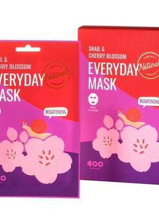 Тканевая маска с экстрактом улитки и вишни корея