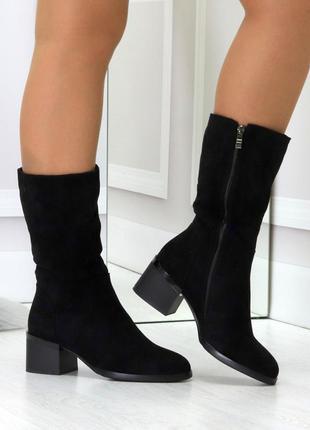 Полусапоги женские черные на каблуке mirta, зима