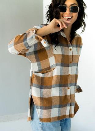 Красива стильна ефектна рубашка , сорочка в клітинку з кишенями турция
