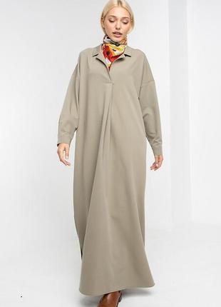 Длинное платье балахон liza в пол пастельного оттенка