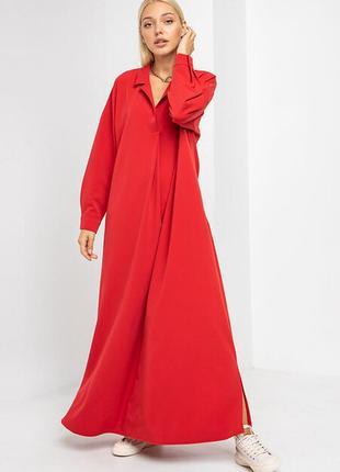 Длинное платье балахон liza в пол красное