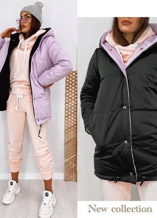 Двусторонняя демисезонная куртка-зефирка с капюшоном на синтепоне до 48 р, 2 цвета