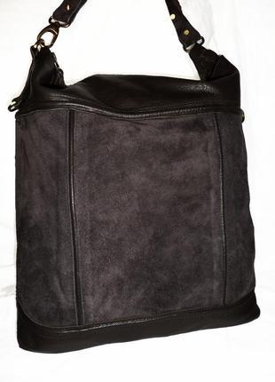 Стильная большая сумка натуральная кожа + натуральная замшевая кожа the  moshi