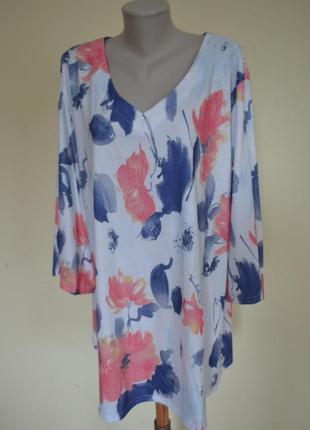 Красивая качественная трикотажная котоновая блузочка-туника большого размера удлиненная