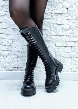 36-40 ботинки деми зима кожаные высокие на шнуровке тренд 2020 стильные модные цвет чёрный