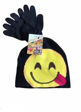 Комплект шапочка и перчатки, демисезон, phonicons, emojy.