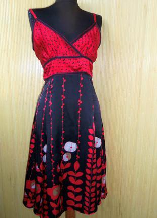 Шёлковое  летнее платье сарафан с бантом  landry indastry
