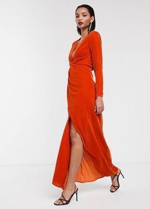 Бархатное платье макси с разрезом сбоку и глубоким вырезом asos edition