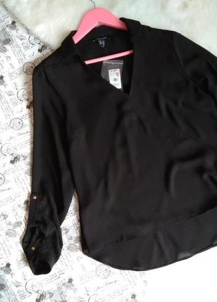 Чорна блуза на запах до довгого рукава / базова блузка чорна без затримок new look
