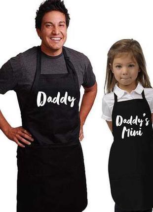 """Фа000285парные фартуки с принтом """"daddy. daddy's mini"""""""