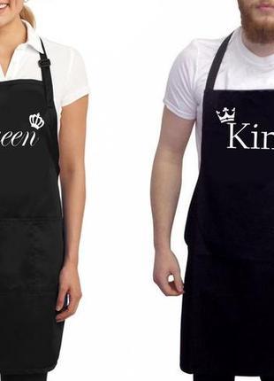 """Фа000292парные фартуки с принтом """"queen. king"""""""