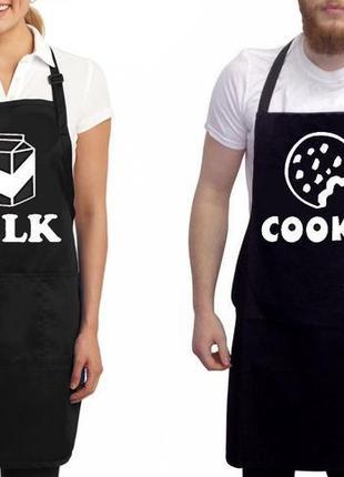 """Фа000295парные фартуки с принтом """"milk. cookie"""""""