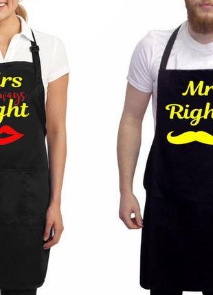 """Фа000300парные фартуки с принтом """"mr. right. mrs. always right"""" (желтые надписи)"""