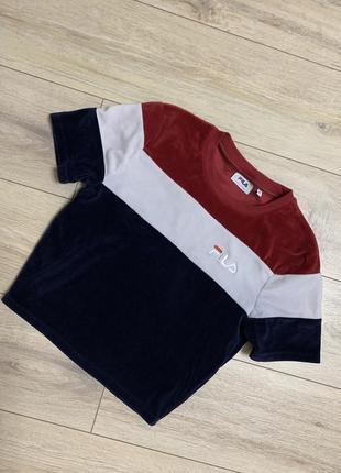 Fila, стильная велюровая футболка, кроп топ, р. s, m. оригинал.