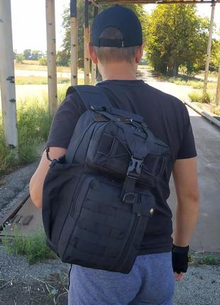 Однолямочный рюкзак на 16 литров с системой m.o.l.l.e (топ качество)черный