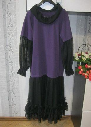 Романтическое платье с кружевом и оборками юбка сеточка от с до 2хл