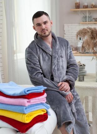 Мужской махровый халат, теплый длинный халат