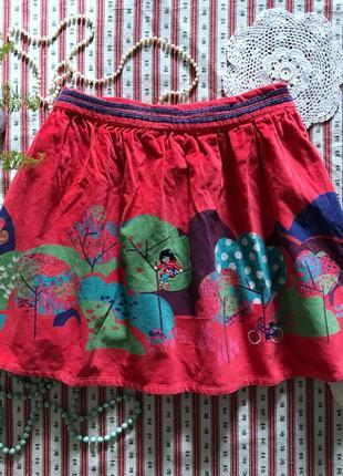 Шикарная уютная юбка с вышивкой dpam на 8 лет (реально с 6 до 9 лет)