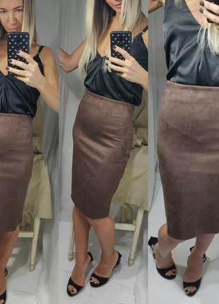 Замшевая юбка карандаш миди шоколад
