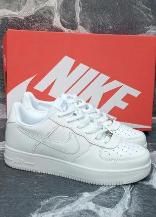 Женские кроссовки nike air force белые,кожаные,осенние