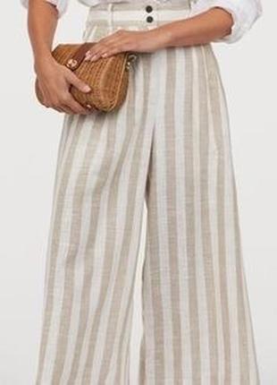 Кюлоты в полоску льняные кюлоты h&m новые льняные брюки хлопковые летние штаны