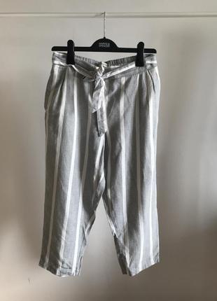 Льняные полосатые брюки с завязками f&f