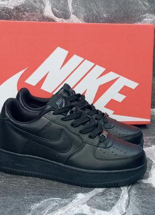 Nike air force женские,черные кроссовки, кожаные,осенние