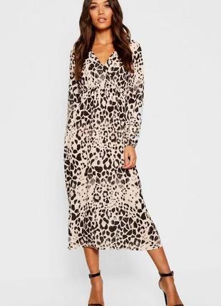 Boohoo міді-сукня принт леопард на запах