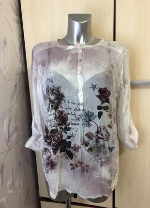 Блуза италия пастельные тона розы шёлк вискоза полиэстер м