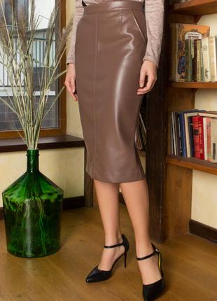 Стильня юбка-карандаш из эко-кожи в разных цветах