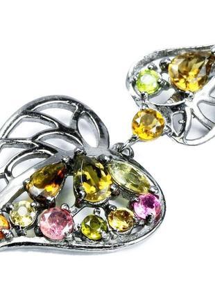 Красивый подвес с цветными турмалинами, серебро 925, тайланд new fashion