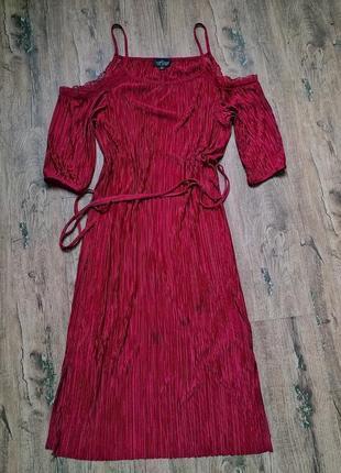 Фирменное платье с грлыми плечиками цвет марсала ❤️