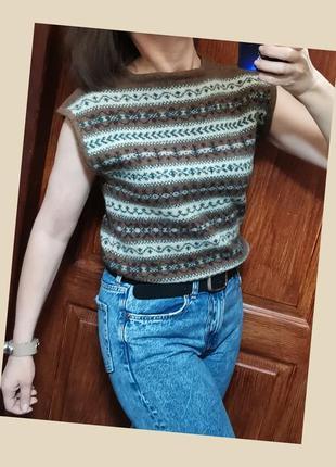 Шерстяная винтажная безрукавка жилетка шерстяная топ шерсть