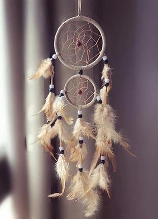 Ловец снов амулет из перьев талисман оберег бежевый коричневый