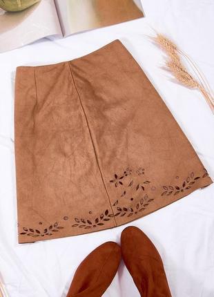 Замшевая юбка коричневая