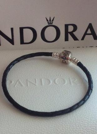 Черный кожаный браслет пандора